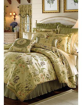 Iris Green/Gold Floral King Comforter Set 110 in. x 96 in. | belk