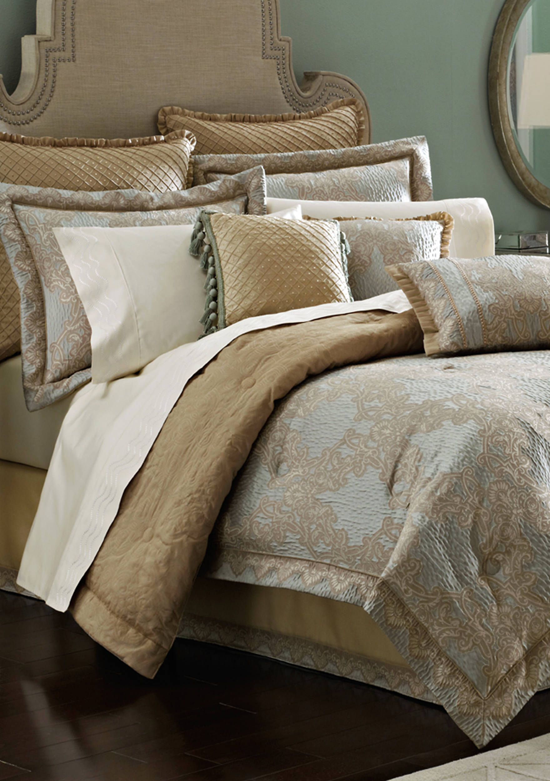radiant radiance luxury touch class for bedding faux croscill in sets dw comforter shirred of congenial silk