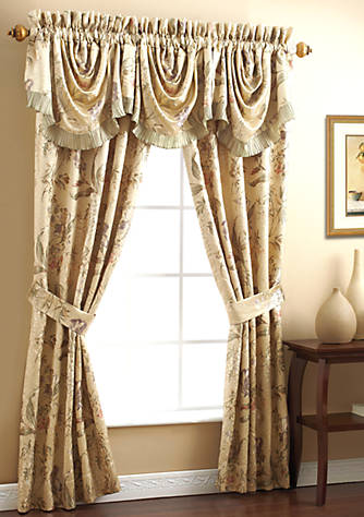 Croscill Iris Green Gold Floral Swag Valance 44 In X 28