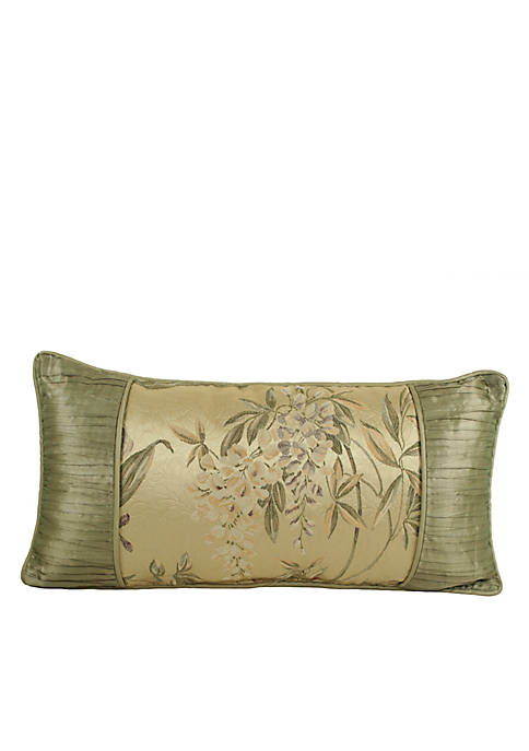 Iris Green/Gold Floral Boudoir Pillow 22-in. x 11-in.