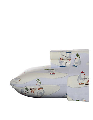 Eddie Bauer Skating Penguins Flannel Sheet Set Belk