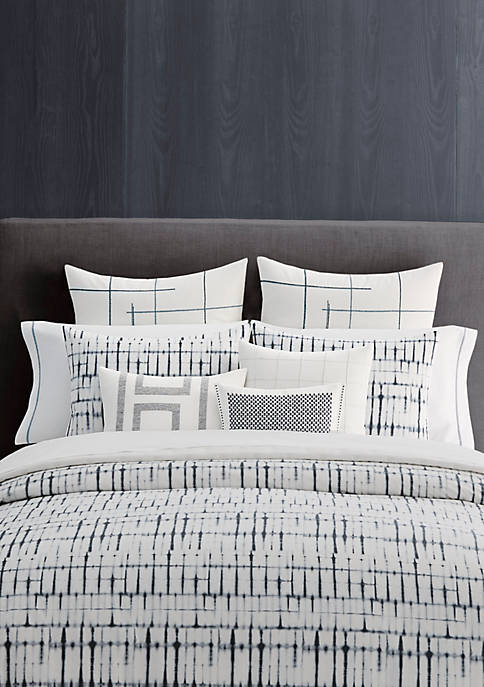 Vera Wang Shibori Grid Duvet Cover Set - Queen