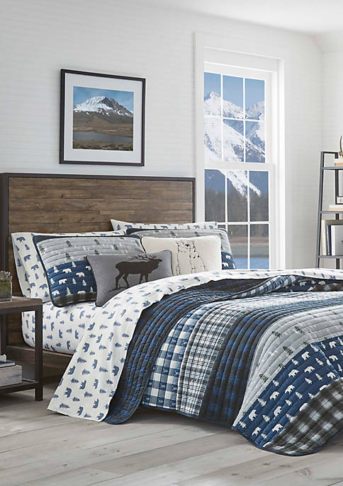 Eddie Bauer Blue Creek Plaid Quilt Set