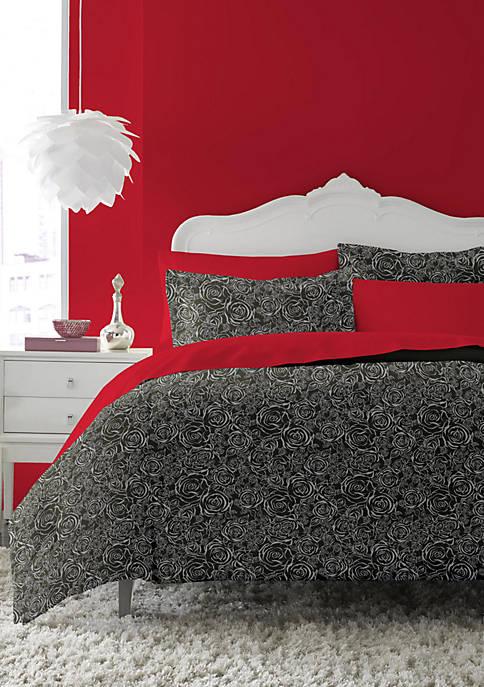 Betsey Johnson Inverse Rose Black and White Comforter