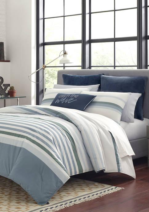Nautica Lansier Gray Cotton Comforter Sham Set