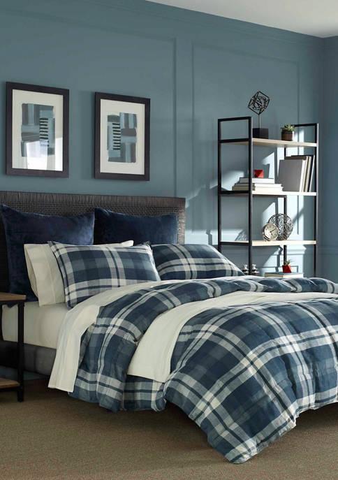 Crossview Plaid Navy Microsuede Comforter Sham Set