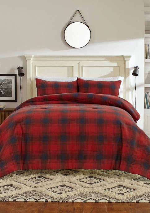 Brighton Red Cotton Comforter Sham Set