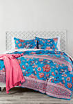 2 Piece Wild Lotus Blue Comforter Sham Set