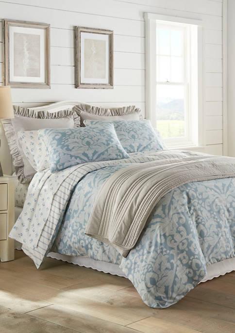 3 Piece Camden Blue Cotton Sateen Comforter Sham Set