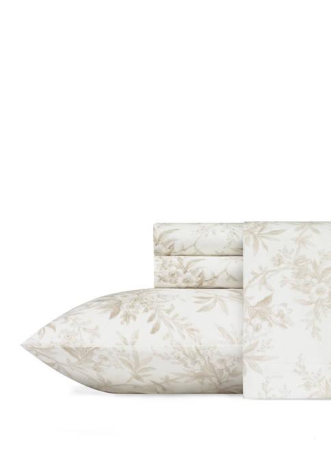 Laura Ashley Faye Toile Cotton Flannel Sheet Set