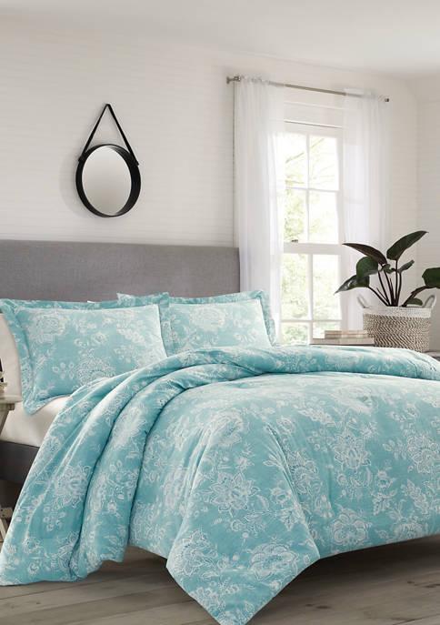Betsey Johnson 4 Piece Tidewater Jacobean Cotton Comforter