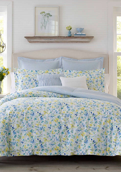 Laura Ashley Nora Cotton Percale Comforter Sham Bonus