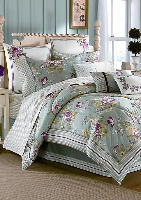 Eloise Aqua Print Queen Comforter Set 92-in. x 88-in.