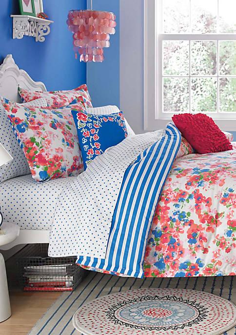 Rosie Posie Red/Blue Twin Comforter Set 86-in. x 68-in.