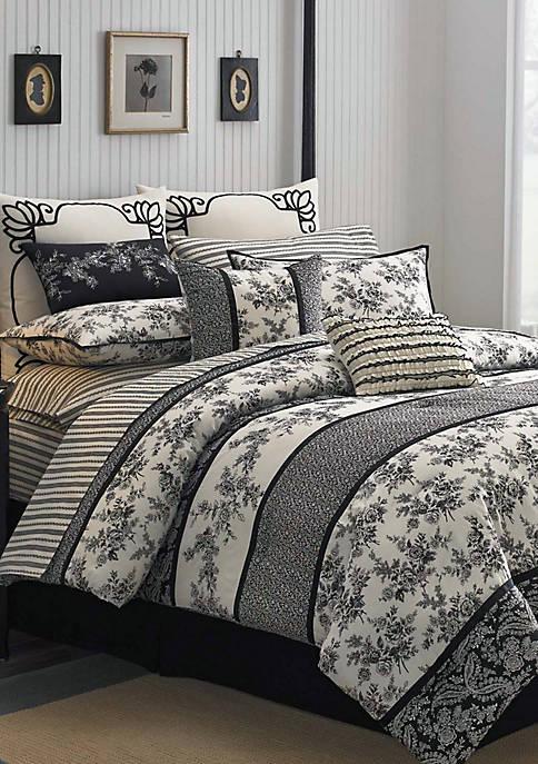 Laura Ashley Cassandra Black/White Full Comforter Set 86-in.