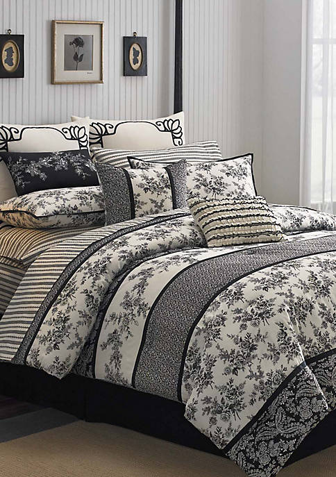 Cassandra Black/White Full Comforter Set 86-in. x 82-in.