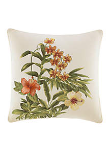 Rio de Janeiro Floral Embroidered Decorative Pillow