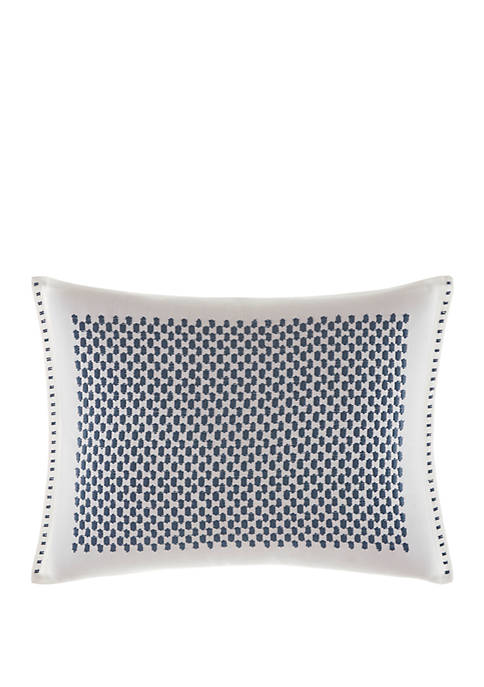 Shibori Grid Embroidered Throw Pillow