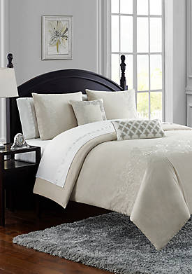 Lucerne Chambray Embroidered 3 Piece Comforter Set