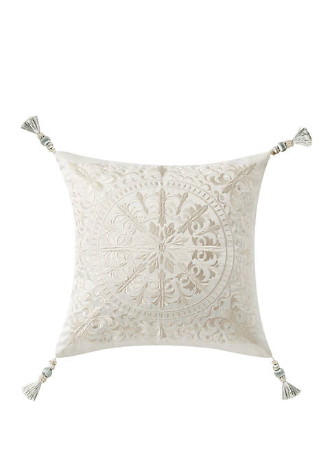 Daphne 18 in x 18 in Embroidered Square Pillow