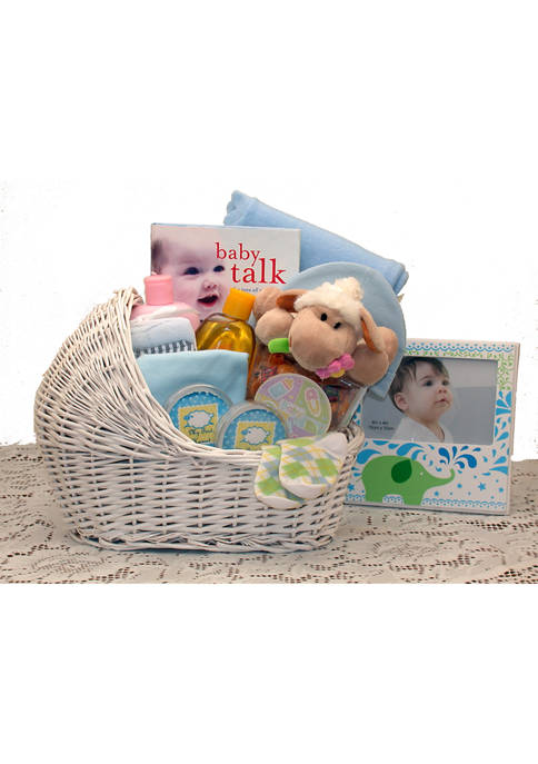 Welcome Baby Bassinet New Baby Basket-Blue