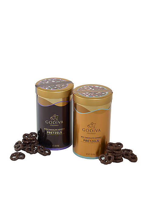 Godiva Pretzel Tins Set Of 2