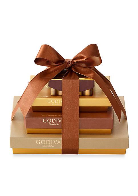 Godiva 4-Tier Sweet Surprise Gift Tower, Classic Ribbon