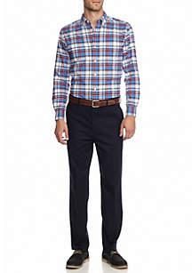 Saddlebred® Long Sleeve Plaid Oxford and Flat Front Comfort Waist Twill Pants Dress Casual Belt