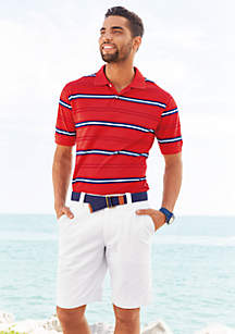 Saddlebred® Short Sleeve Multi Stripe Pique Polo & 9-in. Flat-Front Twill Shorts
