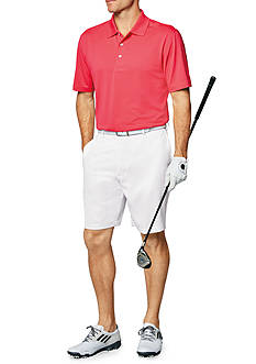 Short Sleeve AirPlay Solid Polo, 9-in. Inseam Flat Front Shorts & Short Sleeve Stripe Airplay Polo