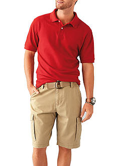 Short Sleeve Polyester Polo and 9-in. Flat-Front Ripstop Shorts