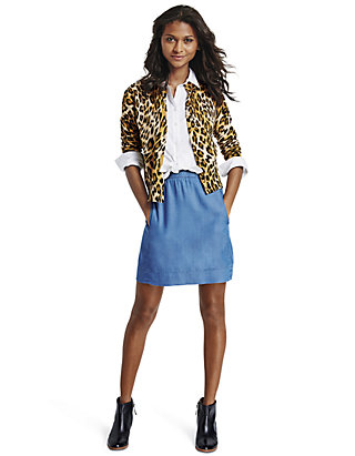 3f925c999ef5d crown & ivy™ Petite Leopard Print Cardigan, Collared Button-Front Tunic &  Chambray Pull-On Skirt | belk