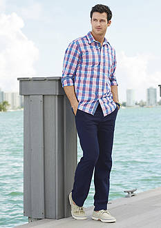 Nautica Long Sleeve Medium Plaid Poplin Button Down Shirt, Slim-Fit Flat-Front Beacon Pants & Anchor Deck Pants