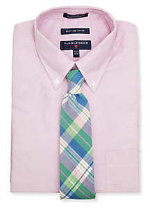 Saddlebred® Saddlebred® Solid Dress Shirt & Alston Cotton Plaid Tie