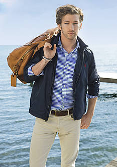 Polo Ralph Lauren Hooded Windbreaker, Checked Oxford Shirt, Slim-Fit Stretch-Chino Pants & Leather Duffel Bag