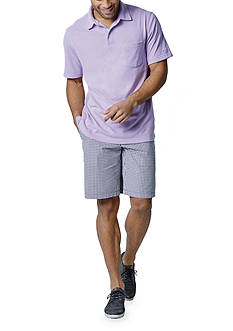 IZOD Short Sleeve Solid Chatham Clique Pocket Polo Shirt & Belted Poplin Plaid Shorts