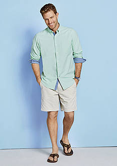 Nautica Long Sleeve Solid Oxford Shirt, Shorter Flat Front Short, Long Sleeve Plaid Oxford Button Down Shirt & Flat Front Shorts