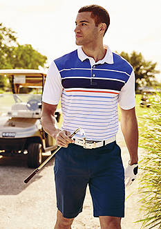 Callaway® Golf English Chest Stripe Fashion Polo Shirt, Flat Front Tech Shorts, Classic-Fit Flat-Front Pants & Golf Liquid Metal Microfiber Hat