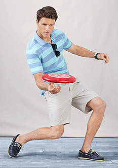 IZOD Short Sleeve Newport Oxford Stripe Polo Shirt & Flat Front Saltwater Shorts