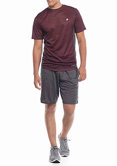 SB Tech® Short Sleeve Thin Wavy Crew Neck Shirt & Space Dye Shorts
