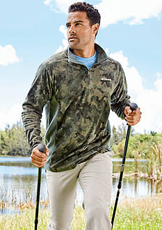 Columbia Klamath Range™ Printed Half Zip Pullover, Meeker Peak Short Sleeve T-Shirt & Brownsmead Five Pocket Flat-Front Pant Collection