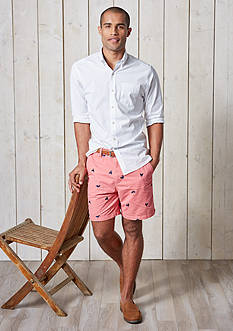 Crown & Ivy™ Long Sleeve Stretch Washed Button Down Shirt & Embroidered 7-in. Twill Shorts Collection