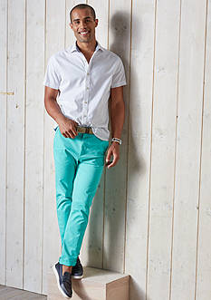 Crown & Ivy™ Short Sleeve Stretch Washed Spread Collar Shirt & Stretch Chino Pants Collection