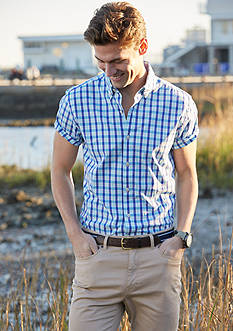 Crown & Ivy™ Short Sleeve Stretch Washed Button Down Shirt & Stretch Chino Pants Collection