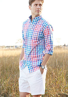 Crown & Ivy™ Long Sleeve Stretch Non-Iron Button Down Shirt & Stretch 7-in Twill Shorts Collection