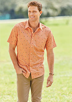 Saddlebred® 1888 Short Sleeve Hula Palm Printed Woven Shirt & Lee® Performance Series X-Treme Comfort Chino Pant Collection