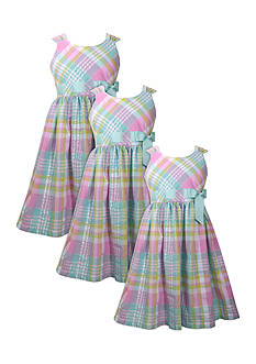 Bonnie Jean Plaid Seersucker Sister Dress Collection Girls 7-16, Girls 4-6x and Toddler Girls