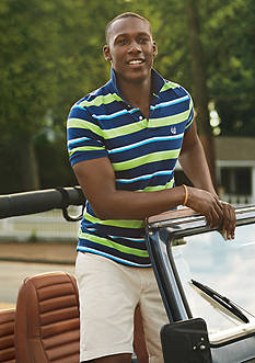 Chaps Striped Pique Polo Shirt & Flat-Front Oxford Shorts Collections
