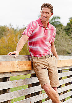 IZOD Thin Stripe Advanced Polo Short Sleeve Shirt & Flat Front Saltwater Shorts Collection