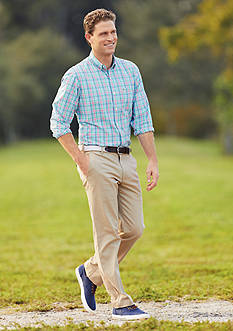 IZOD Long Sleeve Plaid Shirt & Straight Fit Saltwater Chino Flat Front Pants Collection